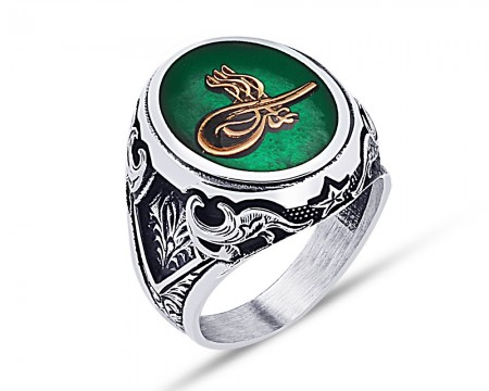 - 925 Ayar Gümüş Yeşil Mine Üzerine Tuğra Desen Yüzük
