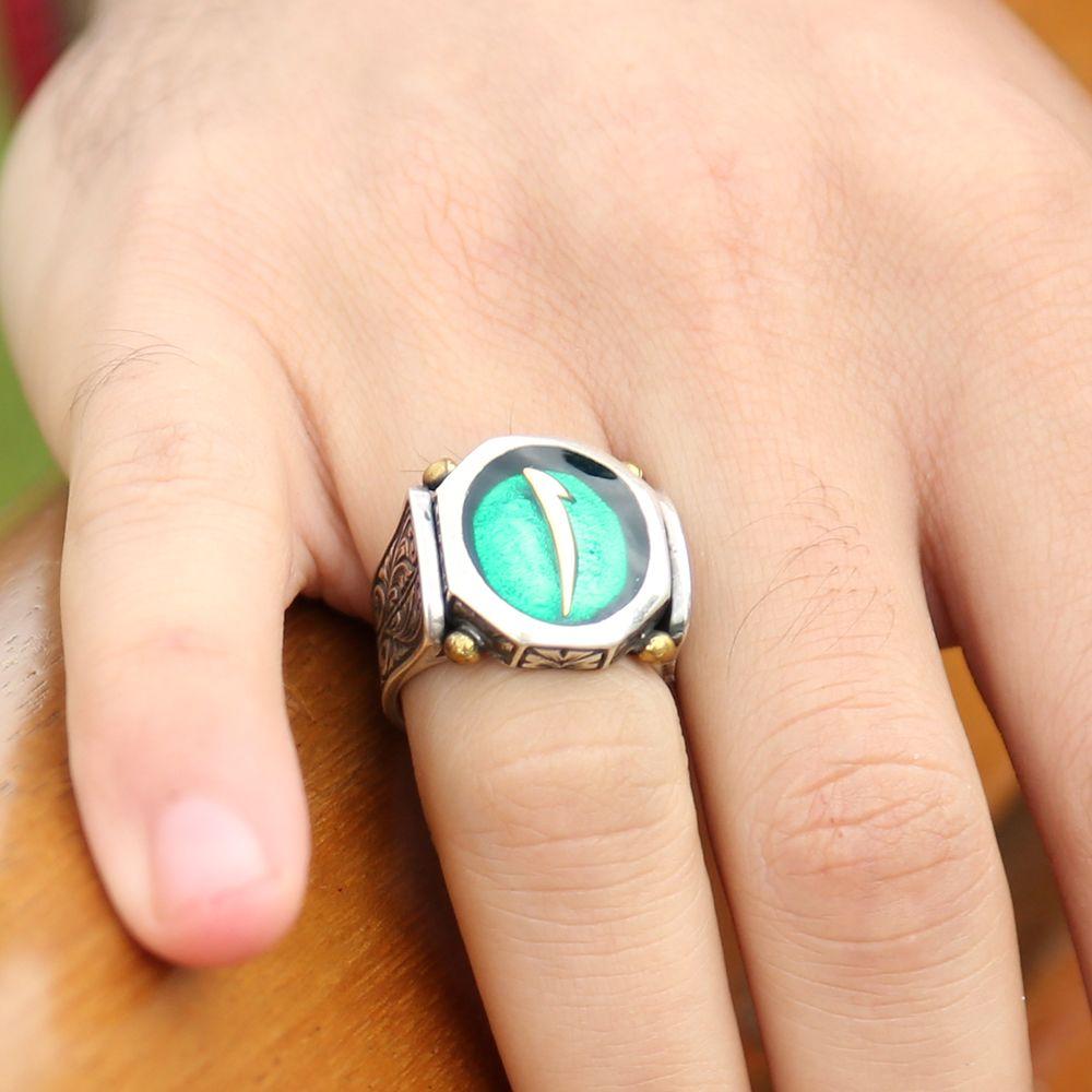 925 Ayar Gümüş Yeşil Mineli Elif Harfli Özel Tasarım Yüzük