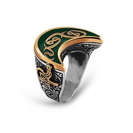 - 925 Ayar Gümüş Yeşil Mineli Osmanlı Tuğra Detay Vav İşlemeli Hilal Yüzük