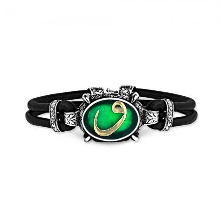 - 925 Ayar Gümüş Yeşil Mineli Vav Bileklik