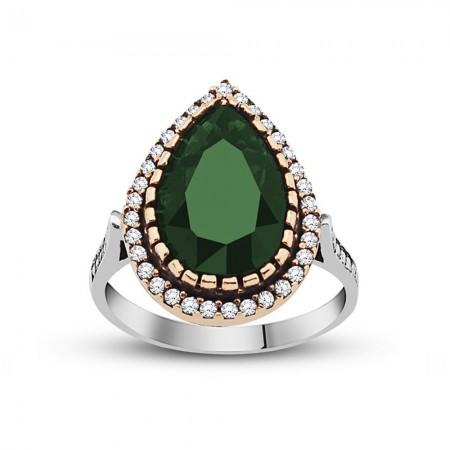Tesbihane - 925 Ayar Gümüş Zirkon ve Yeşil Ruby Taşlı Damla Tasarım Otantik Bayan Yüzük