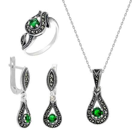 Tesbihane - Yeşil Zirkon Taşlı Damla Tasarım 925 Ayar Gümüş 3'lü Takı Seti