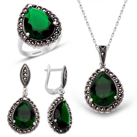 Tesbihane - Yeşil Zirkon Taşlı 925 Ayar Gümüş 3'lü Hürrem Seti