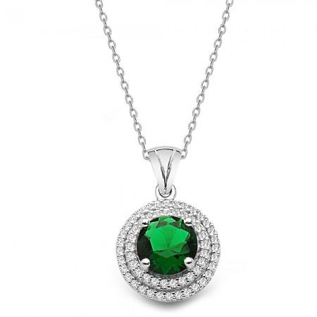 - 925 Ayar Gümüş Yeşil ve Beyaz Zirkon Taşlı Kolye