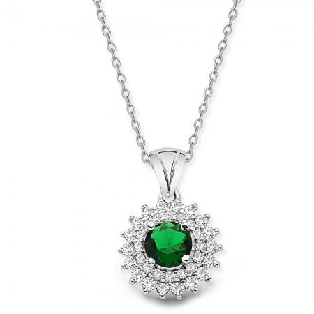 Tesbihane - 925 Ayar Gümüş Yeşil ve Beyaz Zirkon Taşlı Kolye