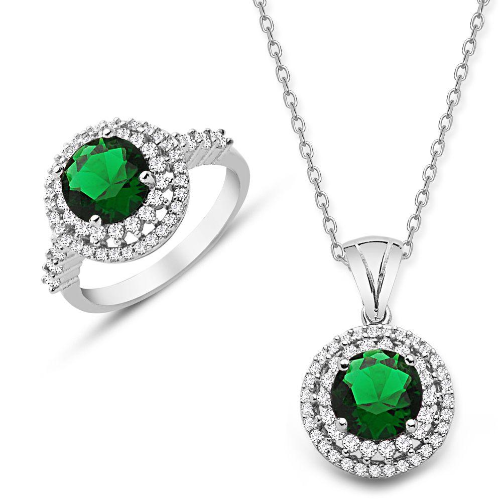 925 Ayar Gümüş Yeşil ve Beyaz Zirkon Taşlı Kolye ve Yüzük Seti