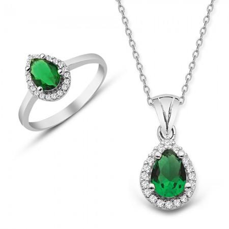 - 925 Ayar Gümüş Yeşil ve Beyaz Zirkon Taşlı Kolye ve Yüzük Seti