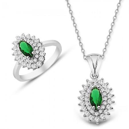 Tesbihane - 925 Ayar Gümüş Yeşil ve Beyaz Zirkon Taşlı Kolye ve Yüzük Seti