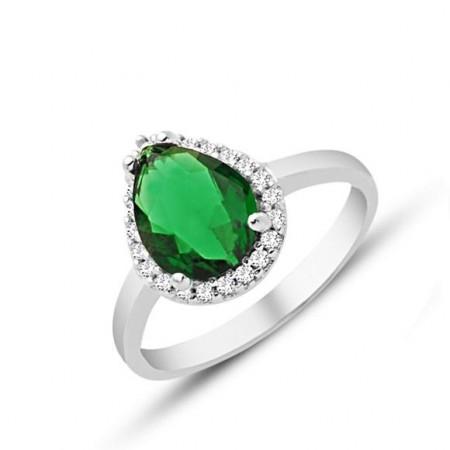 - 925 Ayar Gümüş Yeşil ve Beyaz Zirkon Taşlı Yüzük