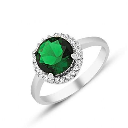 Tesbihane - 925 Ayar Gümüş Yeşil ve Beyaz Zirkon Taşlı Yüzük