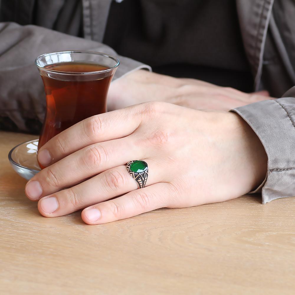 925 Ayar Gümüş Yeşil Zirkon Taşlı Erkek Yüzük