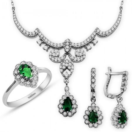 - 925 Ayar Gümüş Yeşil Zirkon Taşlı Kraliçe Set