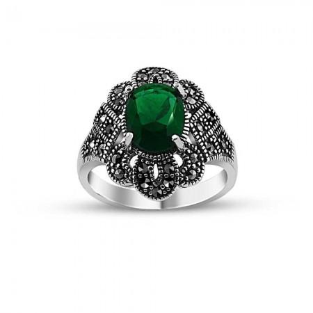Tesbihane - 925 Ayar Gümüş Yeşil Zirkon Taşlı Otantik Yüzük