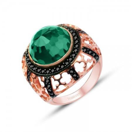 - 925 Ayar Gümüş Yeşil Zirkon Taşlı Rose Yüzük
