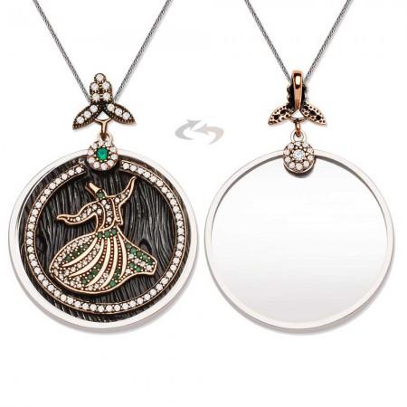 Tesbihane - 925 Ayar Gümüş Yeşil Zirkon Taşlı Semazen Tasarım Kolye