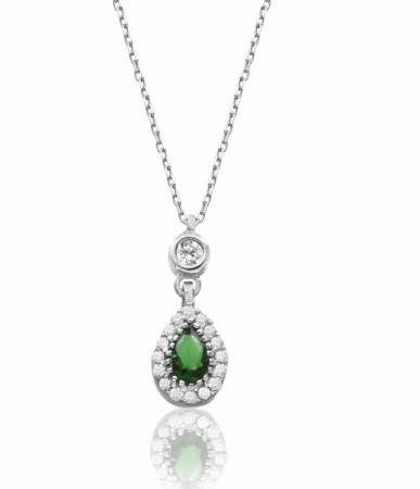 - 925 Ayar Gümüş Yeşil Zirkon Taşlı Sultan Kolye
