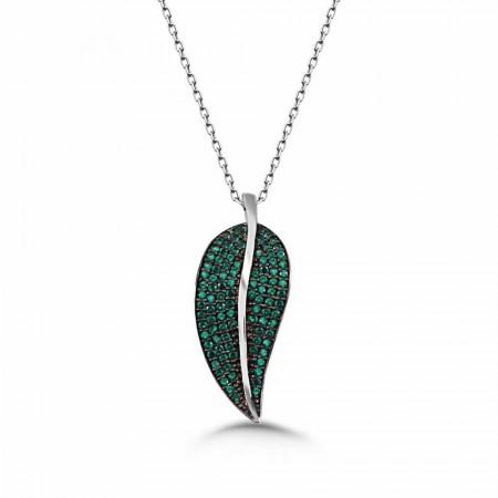 Tesbihane - 925 Ayar Gümüş Yeşil Zirkon Taşlı Yaprak Kolye