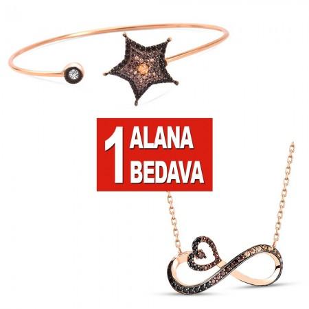 - 925 Ayar Gümüş Yıldız Bileklik ve Sonsuz Kalp Kolye