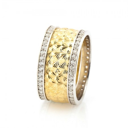 Tesbihane - Kutup Yıldızı Tasarım Çift Sıra Zirkon Taşlı 925 Ayar Gümüş Bayan Alyans