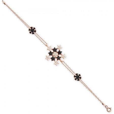 - 925 Ayar Gümüş Yıldız Model Kar Tanesi Bileklik (SRD0345)
