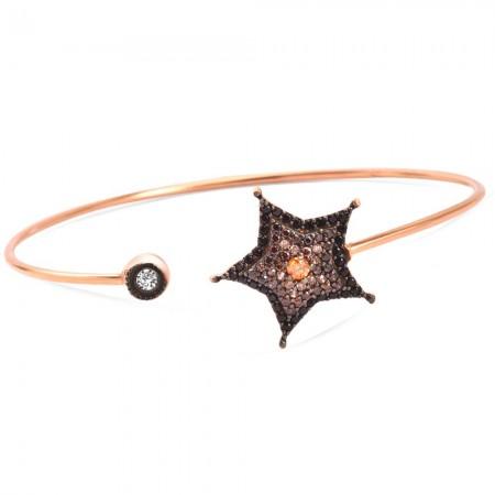 Tesbihane - 925 Ayar Gümüş Yıldız Tasarım Bileklik