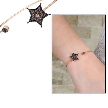 Tesbihane - Zirkon Taşlı Yıldız Tasarım Rose Renk 925 Ayar Gümüş Bayan Bileklik