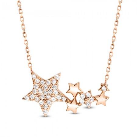 Tesbihane - 925 Ayar Gümüş Yıldızlar Kolye