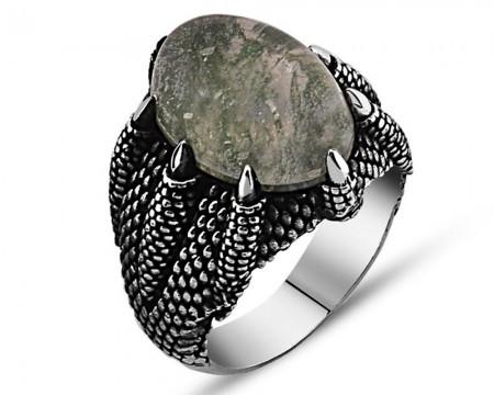 Tesbihane - 925 Ayar Gümüş Yosun Kuvars Taşlı Pençe Yüzük