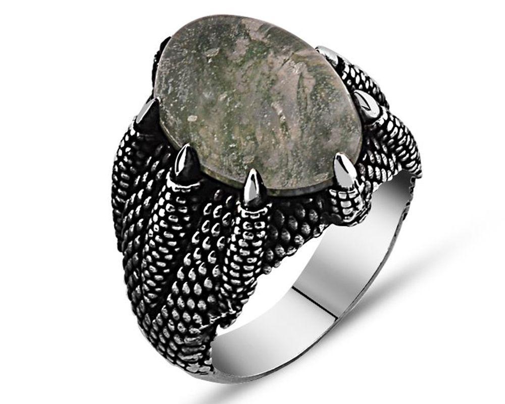 925 Ayar Gümüş Yosun Kuvars Taşlı Pençe Yüzük