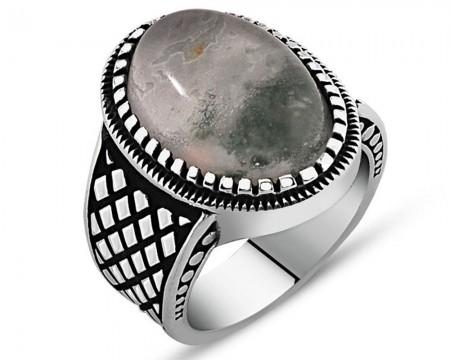 Tesbihane - 925 Ayar Gümüş Yosun Kuvars Taşlı Yüzük