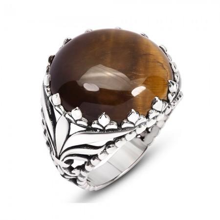 Tesbihane - 925 Ayar Gümüş Yuvarlak Bombeli Kaplangözü Taşlı Yüzük