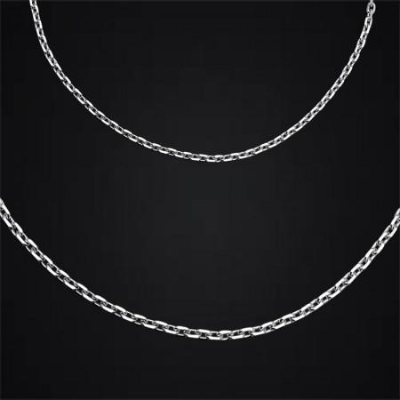 Tesbihane - 925 Ayar Gümüş Kalın Forsa Zincir Erkek Kolye