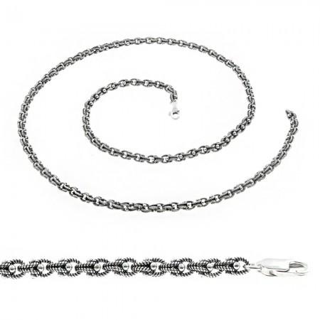 Tesbihane - 925 Ayar Gümüş Telkari Erkek Zincir