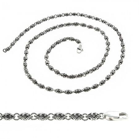 Tesbihane - 925 Ayar Gümüş Ayyıldız İşlemeli Erkek Zincir
