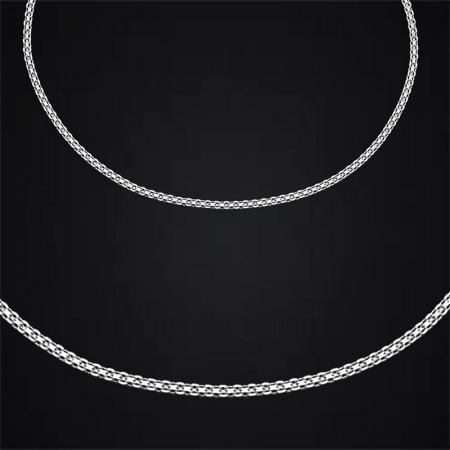 Tesbihane - 925 Ayar Gümüş Garibaldi Zincir Erkek Kolye (M-1)