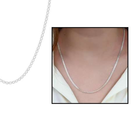 Tesbihane - 925 Ayar Gümüş Garibaldi Bayan Zincir Kolye (M-1)