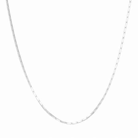 925 Ayar Gümüş Kare Forse Bayan Zincir Kolye - Thumbnail