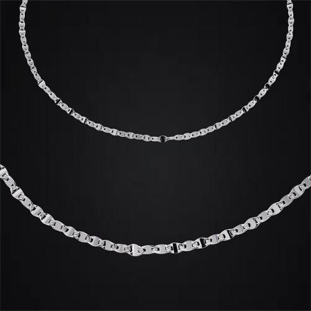 Tesbihane - 925 Ayar Gümüş Baskılı Forsa Zincir Erkek Kolye