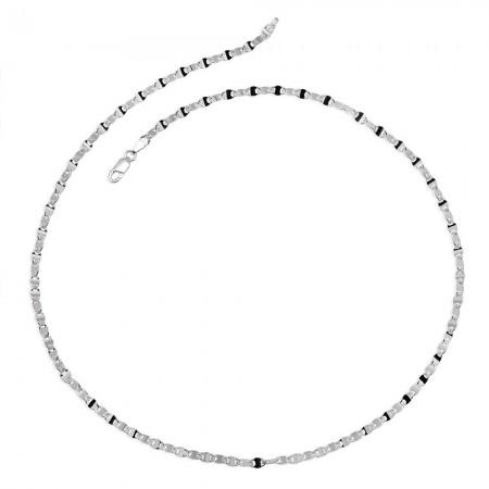 925 Ayar Gümüş Baskılı Forsa Zincir Erkek Kolye - Thumbnail