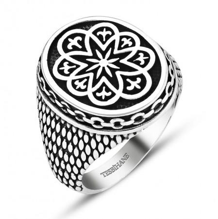Tesbihane - 925 Ayar Gümüş Zincir Model Dekoratif Yüzük