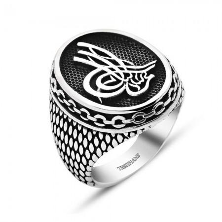 Tesbihane - Tuğra Motifli Zincir Tasarım 925 Ayar Gümüş Erkek Yüzük