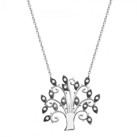 Tesbihane - 925 Ayar Gümüş Zirkon Ağaç Kolye