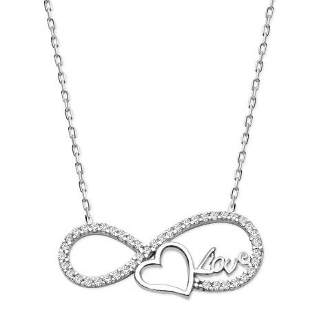 Tesbihane - 925 Ayar Gümüş Zirkon Sonsuz Kalp Love Kolye