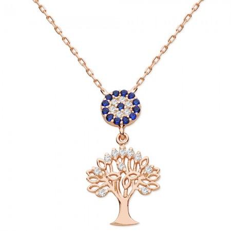 - 925 Ayar Gümüş Zirkon Taşlı Ağaç Kolye