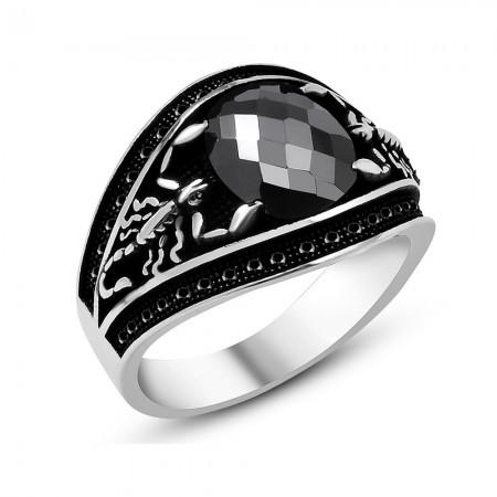 Tesbihane - 925 Ayar Gümüş Zirkon Taşlı Akrep Kral Yüzük