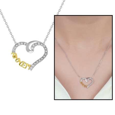 Tesbihane - Beyaz Zirkon Taşlı Annem Yazılı Kalp Tasarım 925 Ayar Gümüş Bayan Kolye