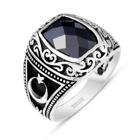 925 Ayar Gümüş Zirkon Taşlı Ayyıldız Yüzük - Thumbnail