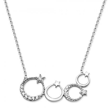 Tesbihane - 925 Ayar Gümüş Zirkon Taşlı Ayyıldızlar Kolye