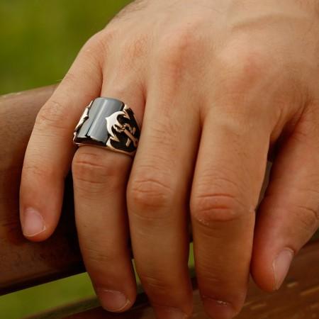 925 Ayar Gümüş Zirkon Taşlı Çapa Detaylı Yüzük - Thumbnail