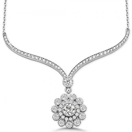 Tesbihane - 925 Ayar Gümüş Zirkon Taşlı Çiçek Gerdanlık